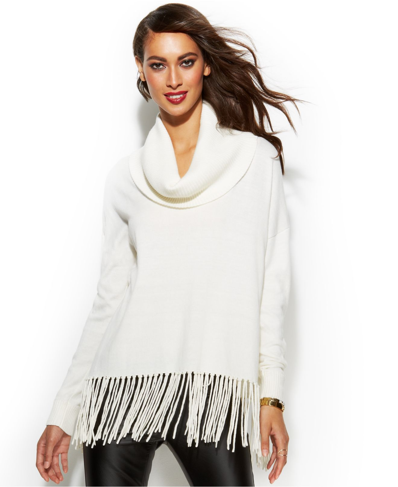 Michael kors Michael Cowl-Neck Fringe Sweater in White | Lyst