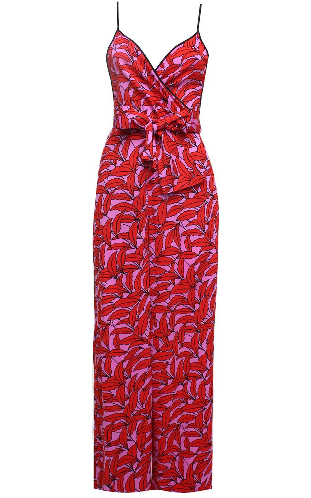 b3a6d4066cd Diane von Furstenberg. Women s Red Barry Windsor Palm-print Viscose-blend  Jumpsuit