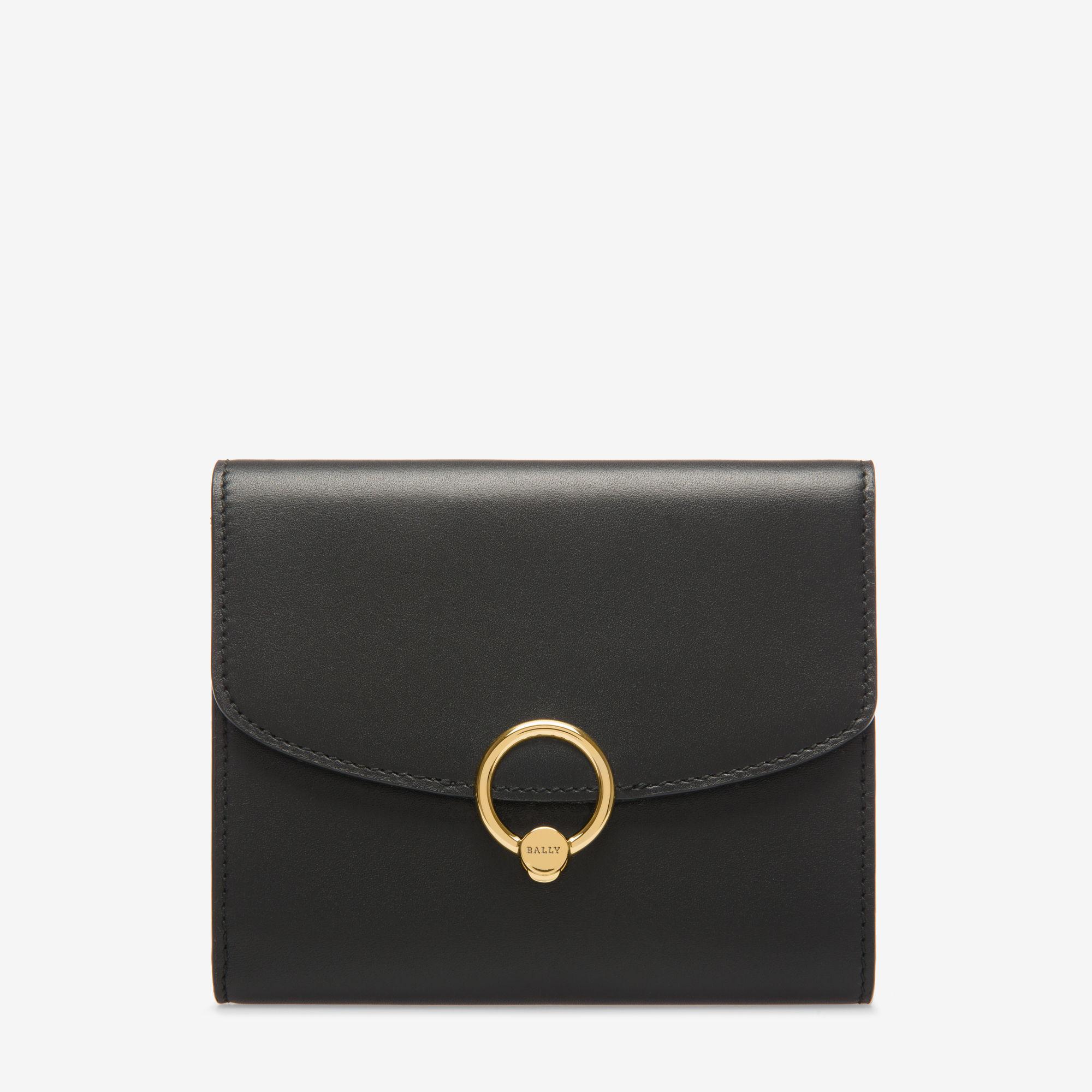 Salen Black, Womens embossed calf leather zip around wallet in black Bally