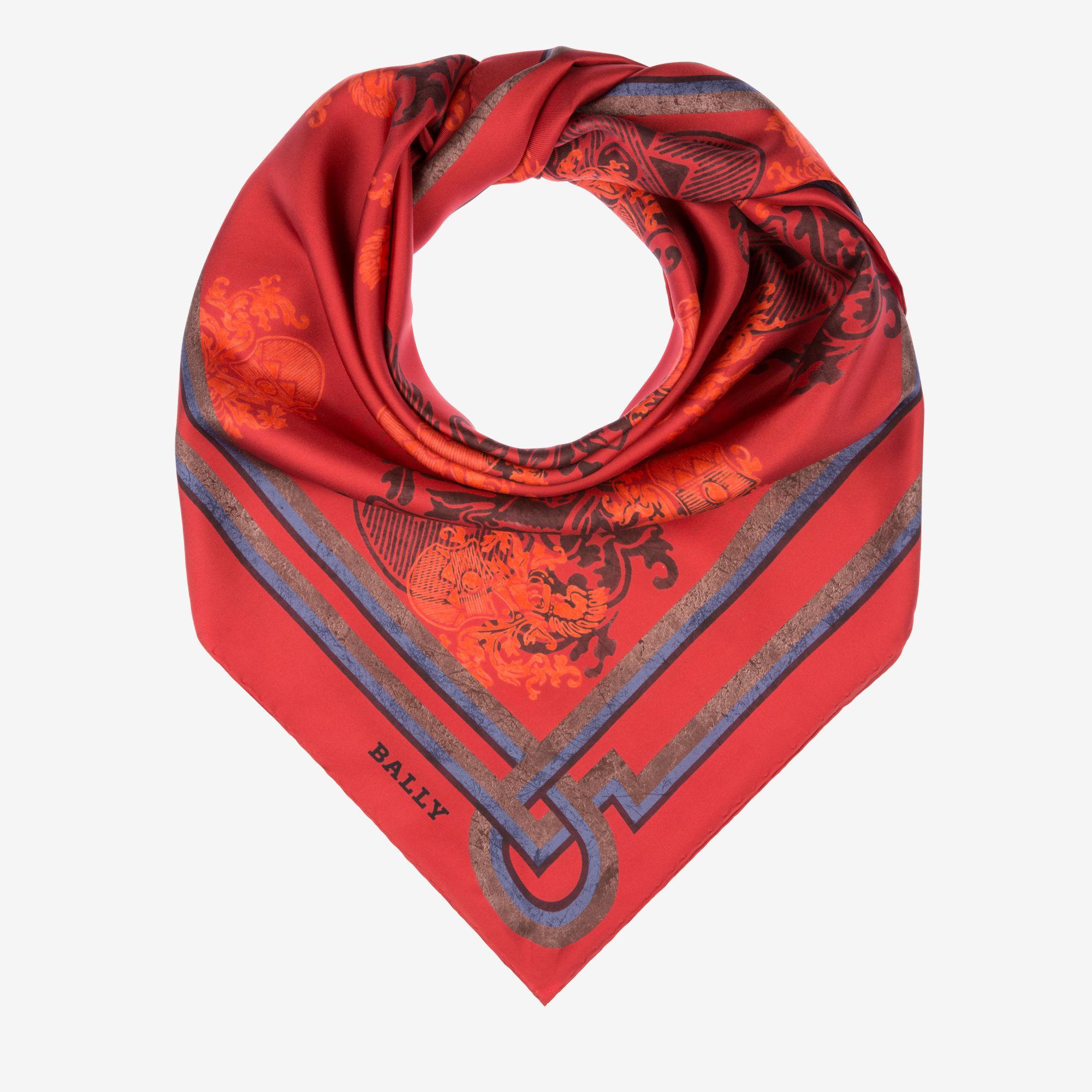 Crest Print Skinny Scarf Blue, Womens silk scarf in ink Bally