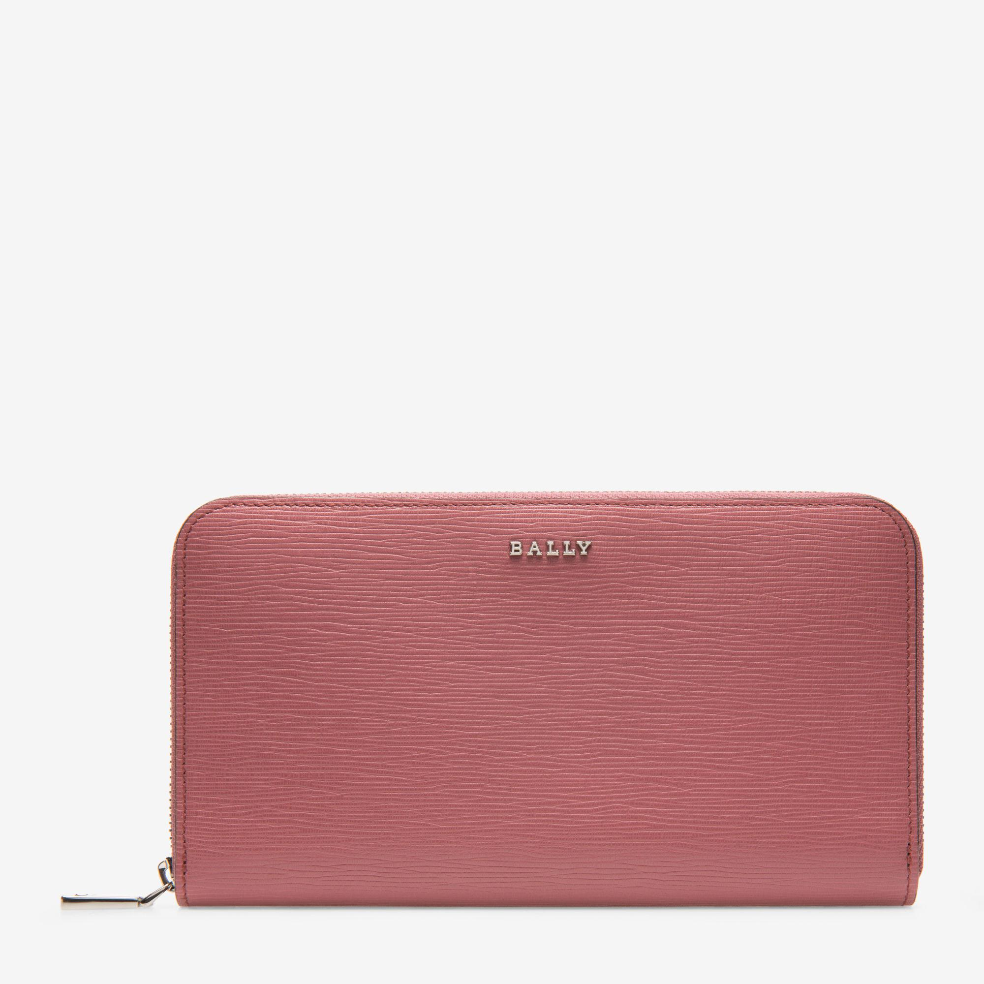 Lorel Red, Womens embossed calf leather wallet in ruby Bally