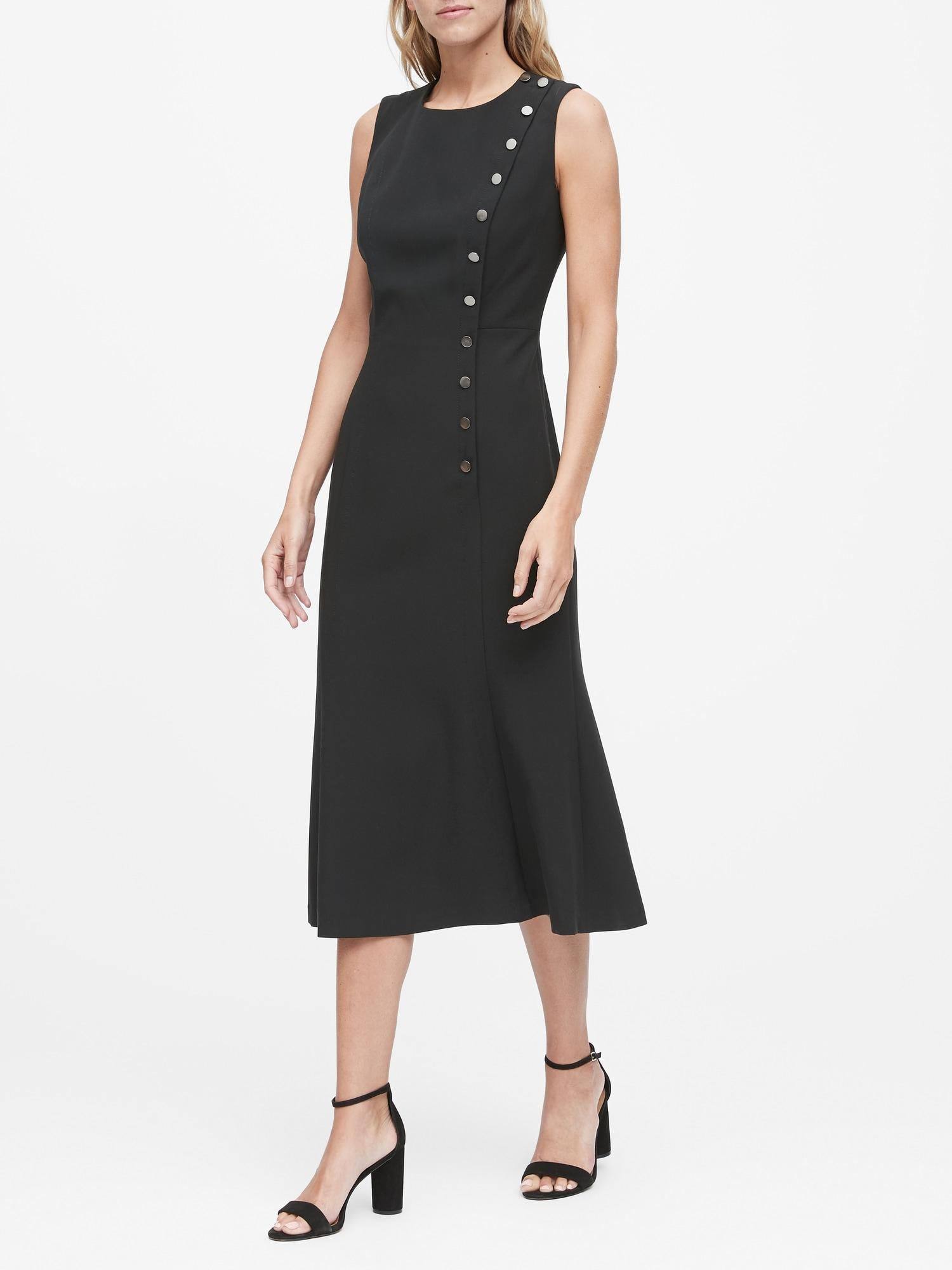 Banana Republic Petite Buttoned Midi Dress In Black Lyst