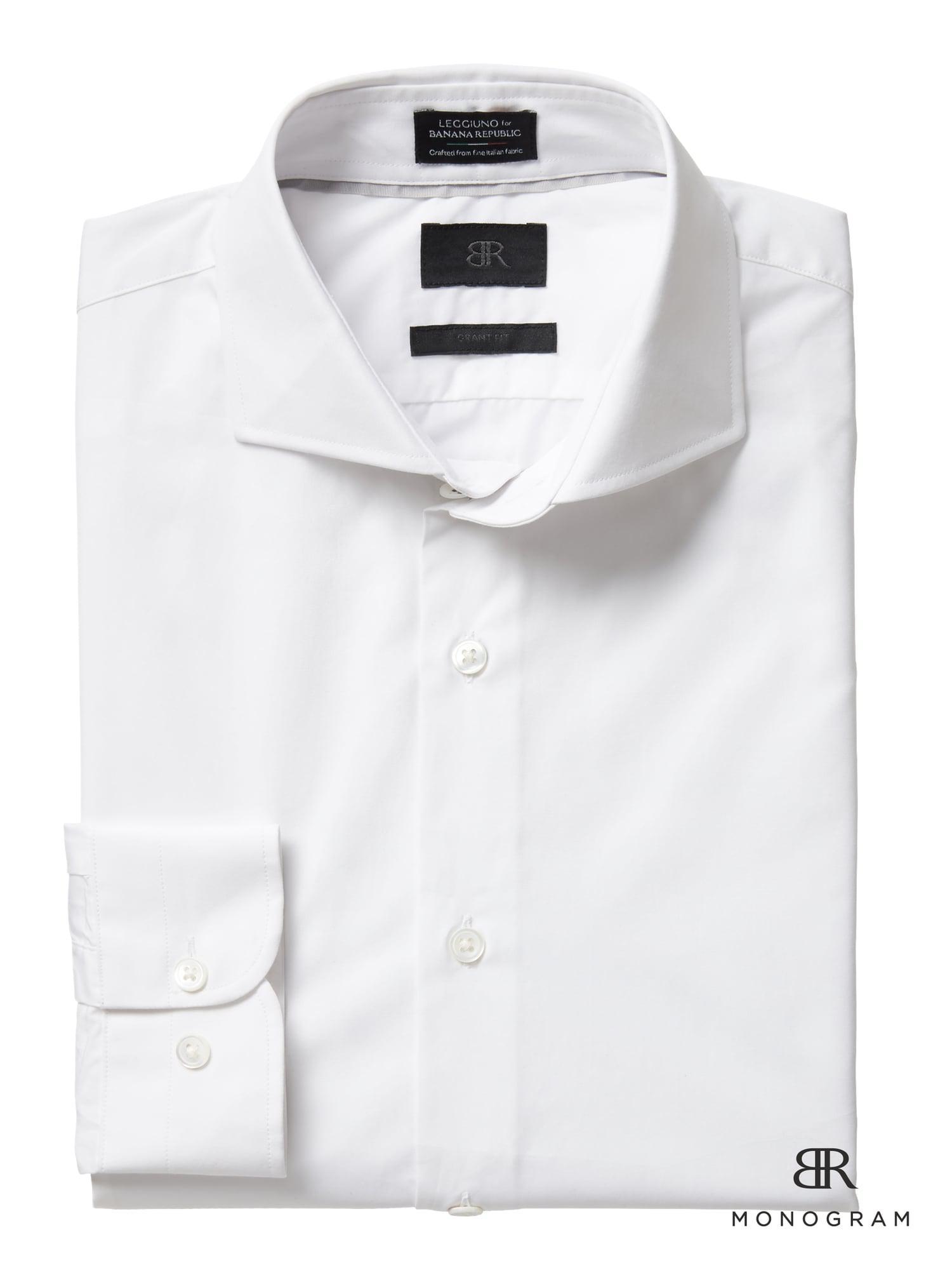 1606afb7 Banana Republic. Men's White Monogram Grant Slim-fit Italian Cotton Dress  Shirt