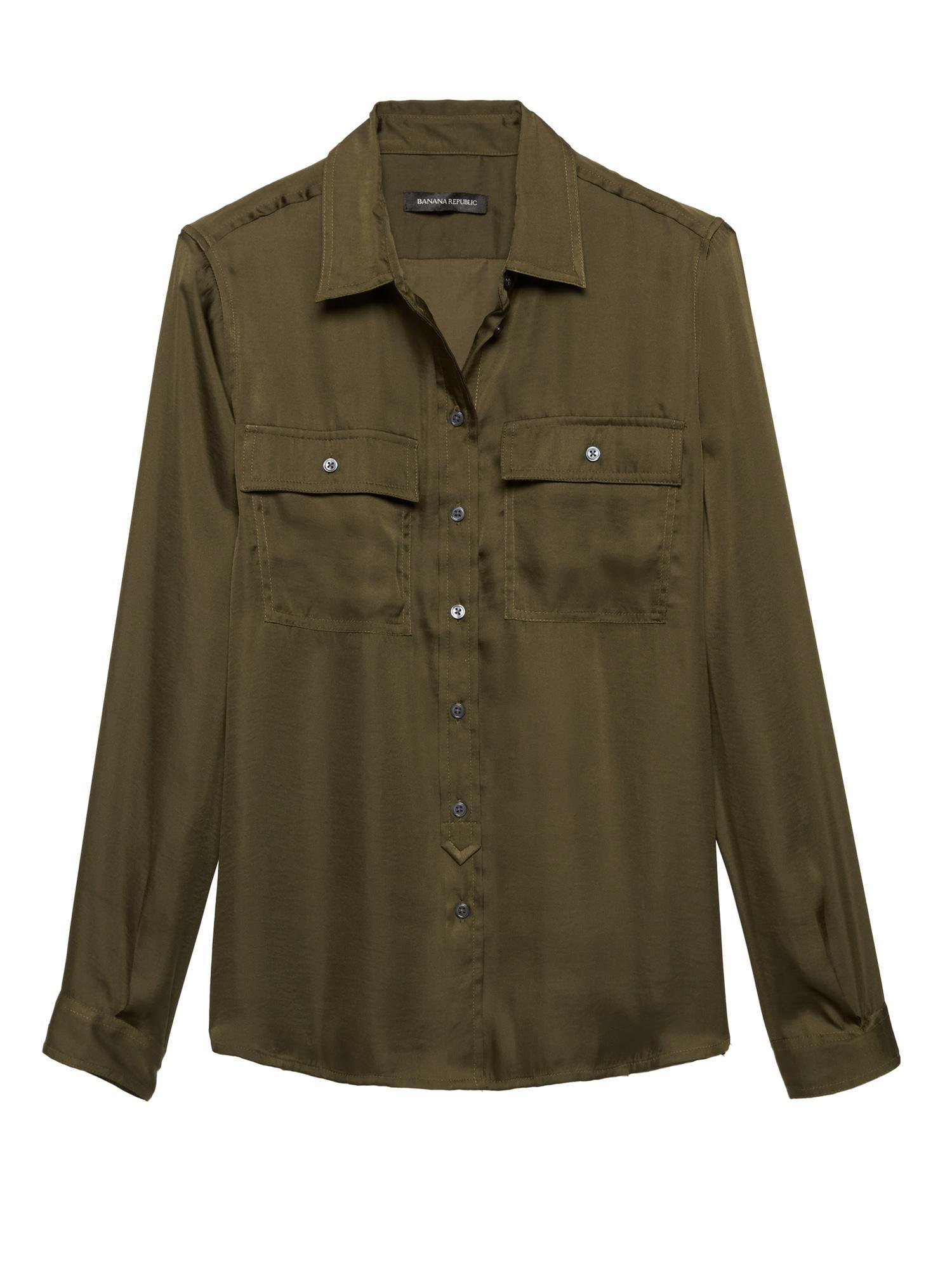 661552ccc7153 Banana Republic - Green Dillon Classic-fit Soft Satin Utility Shirt - Lyst.  View fullscreen