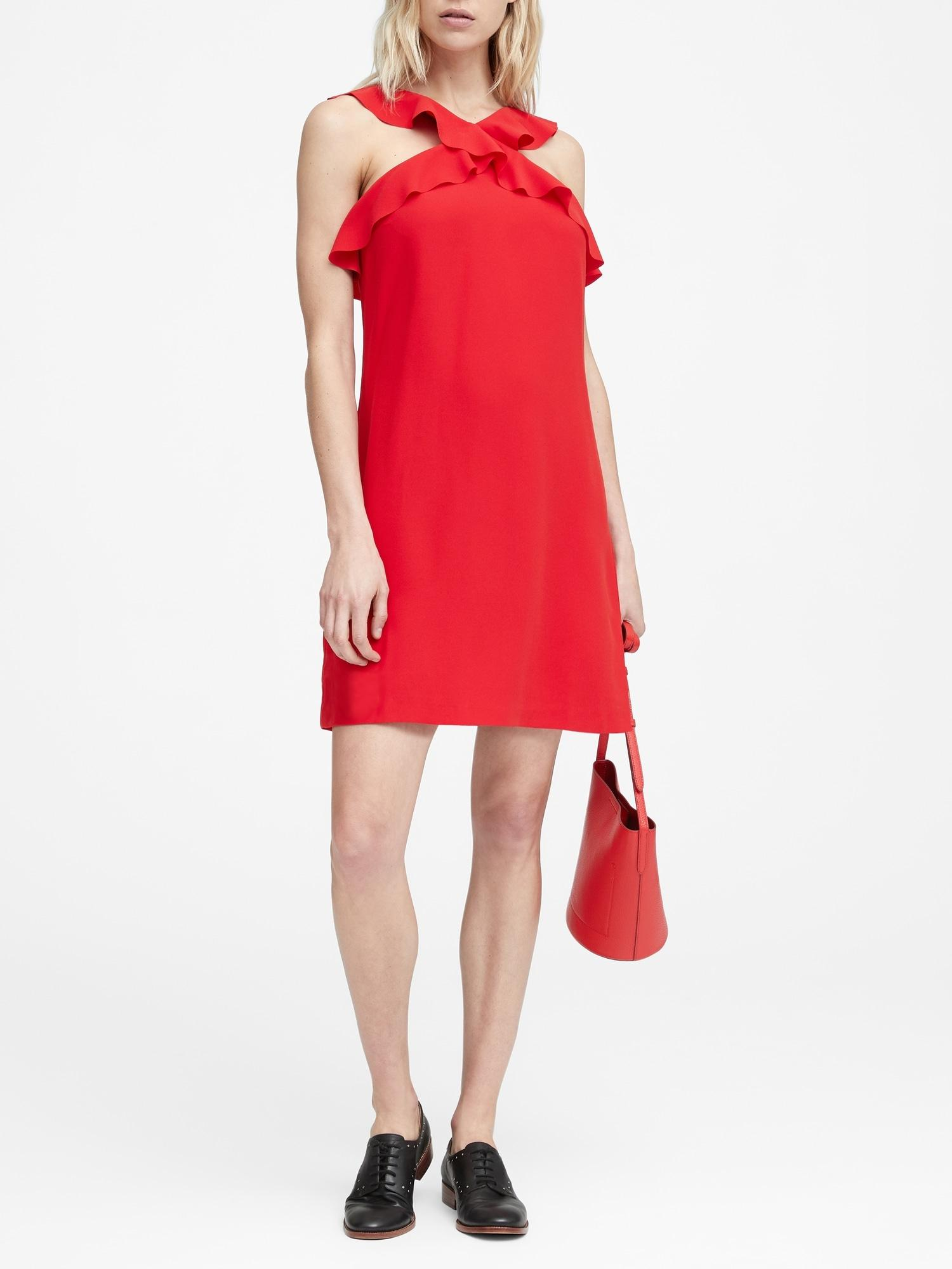 01a630e2de Lyst - Banana Republic Ruffle Halter Dress in Red