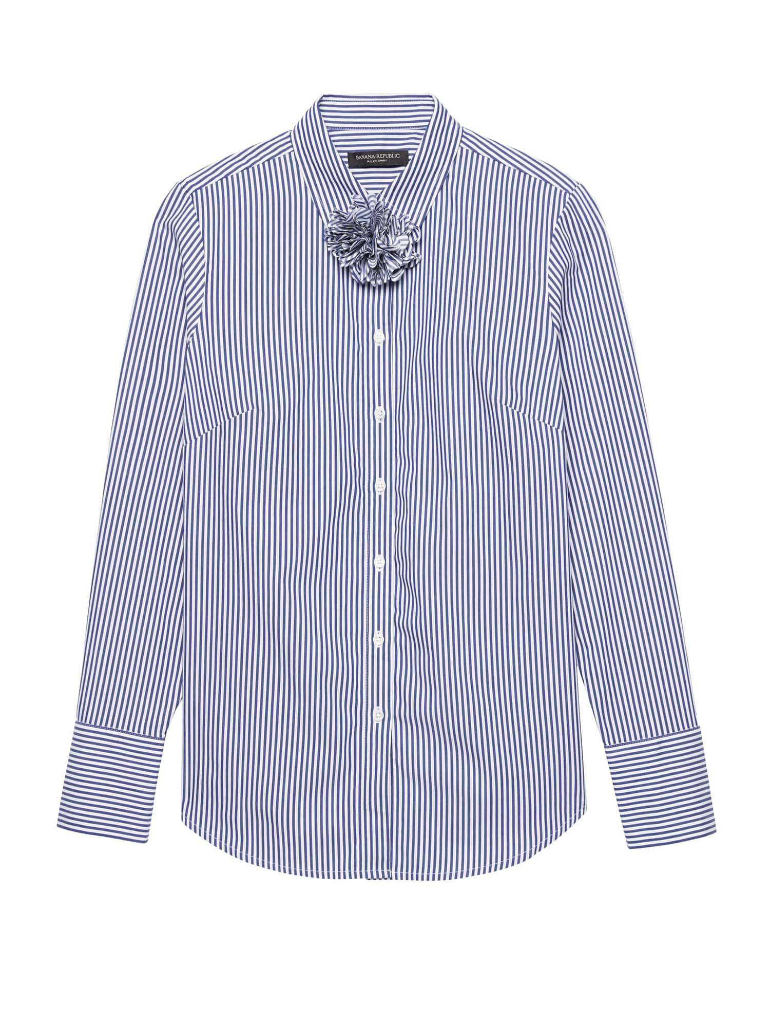 123e998e0adf4 Lyst - Banana Republic Petite Riley Tailored-fit Stripe Shirt With ...