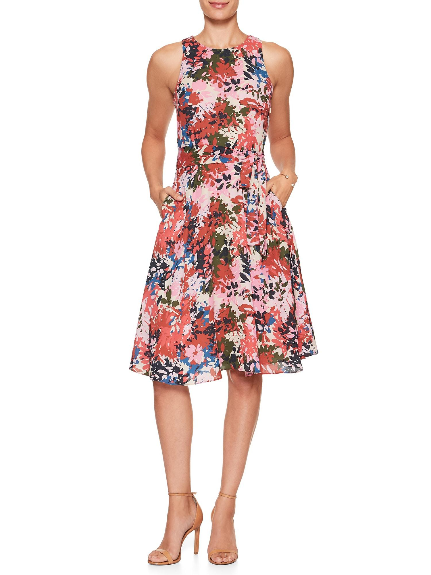 Banana Republic Factory Synthetic Petite Print Belted Fit