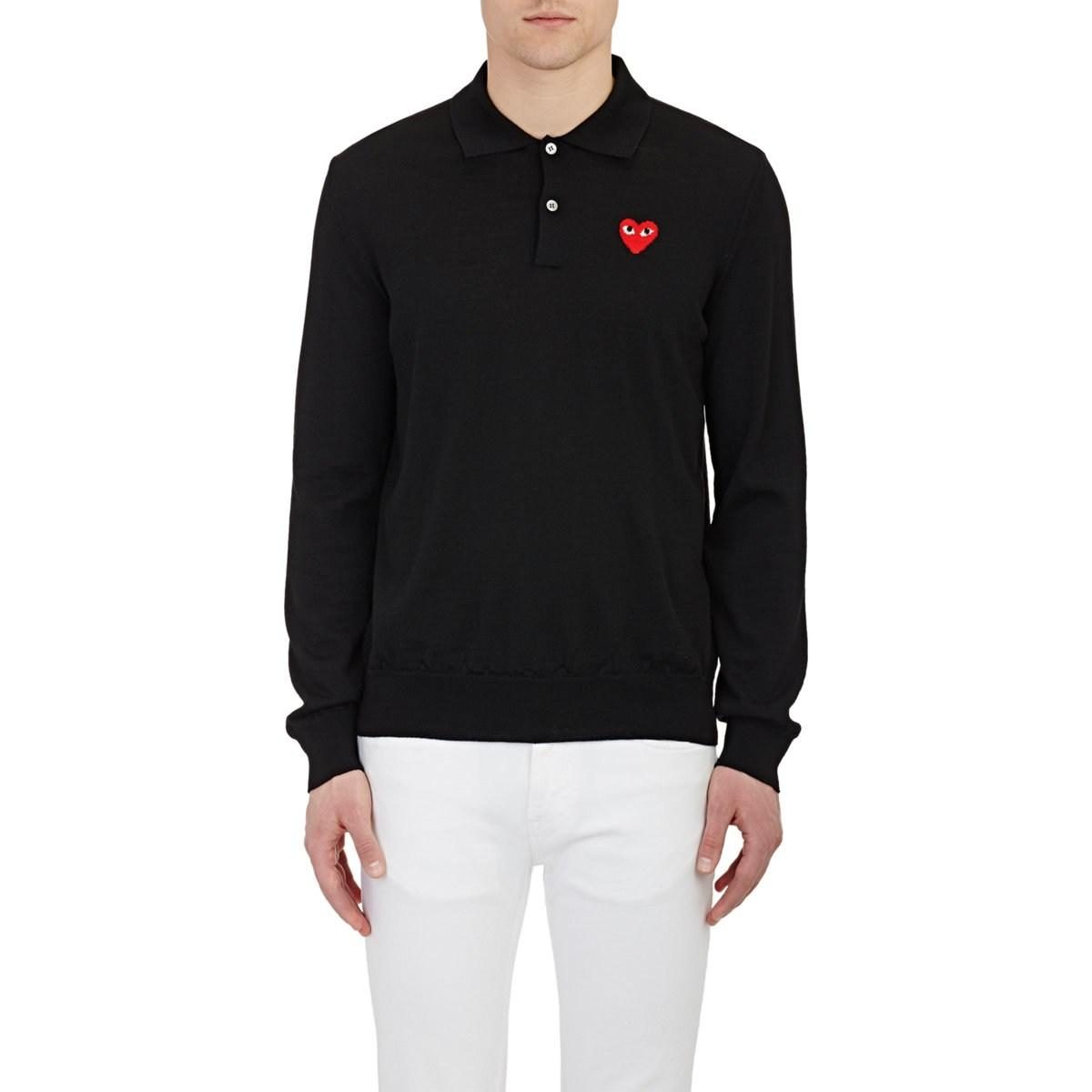 657daefe3176 COMME DES GARÇONS PLAY Heart Wool Polo Sweater in Black for Men - Lyst