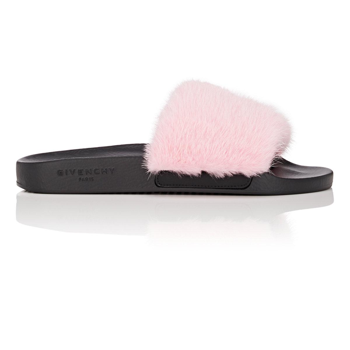 3b0a9abb3f65 Lyst - Givenchy Mink Fur Slide Sandals in Pink