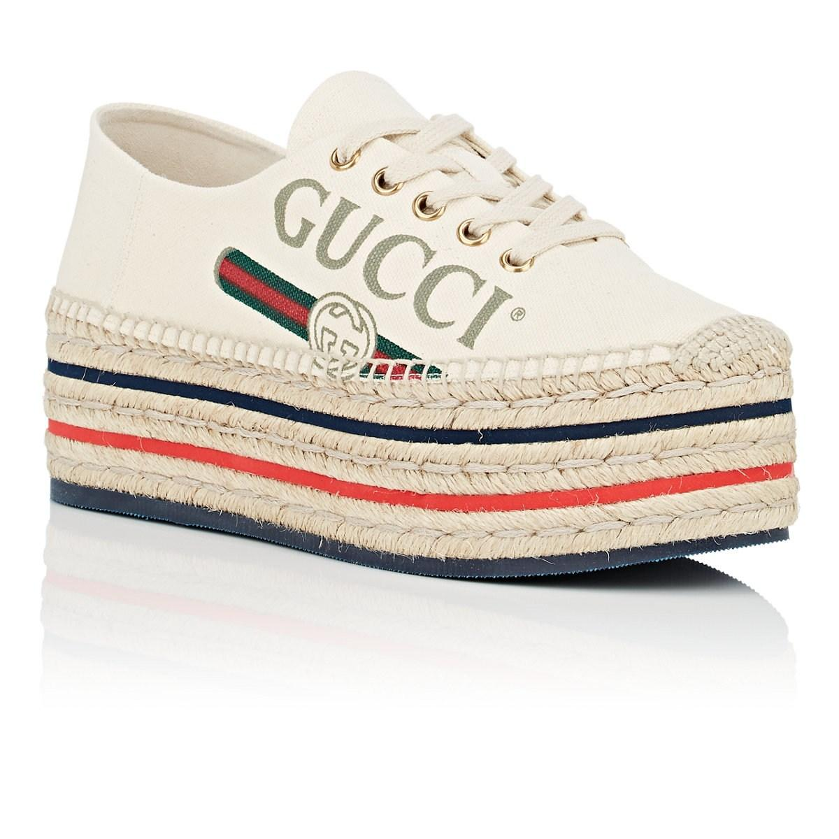 0312f8a1023f8c Gucci - White Canvas Platform Espadrille Sneakers - Lyst. View fullscreen