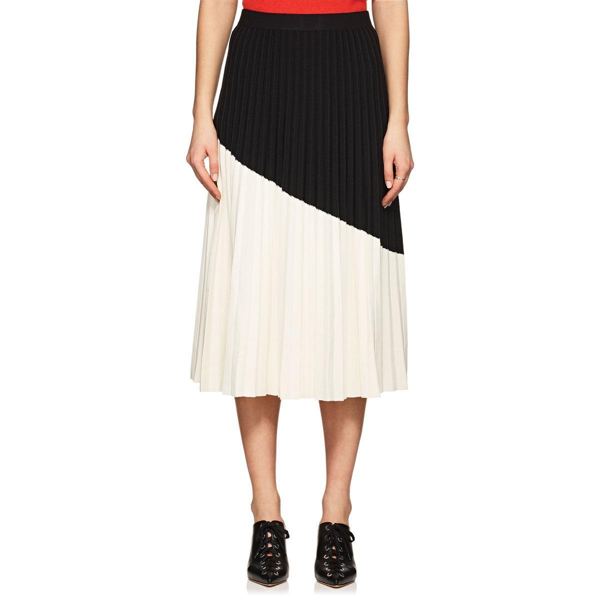 9275aa890d 10 Crosby Derek Lam Colorblocked Pleated Midi Skirt in Black - Lyst