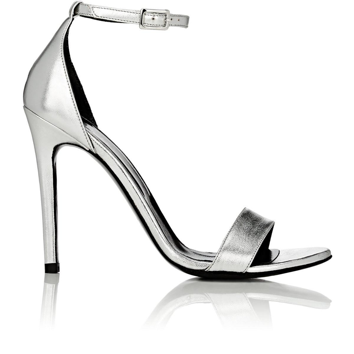 cbf241aa7395 Lyst - Barneys New York Metallic Leather Ankle-strap Sandals in Metallic