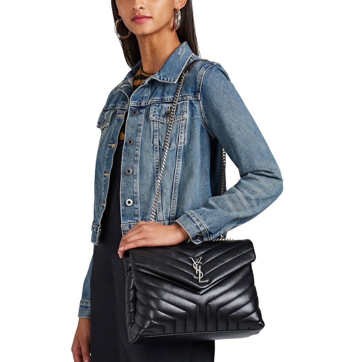 35ced8caf57 Saint Laurent - Black Monogram Loulou Medium Leather Shoulder Bag - Lyst.  View fullscreen