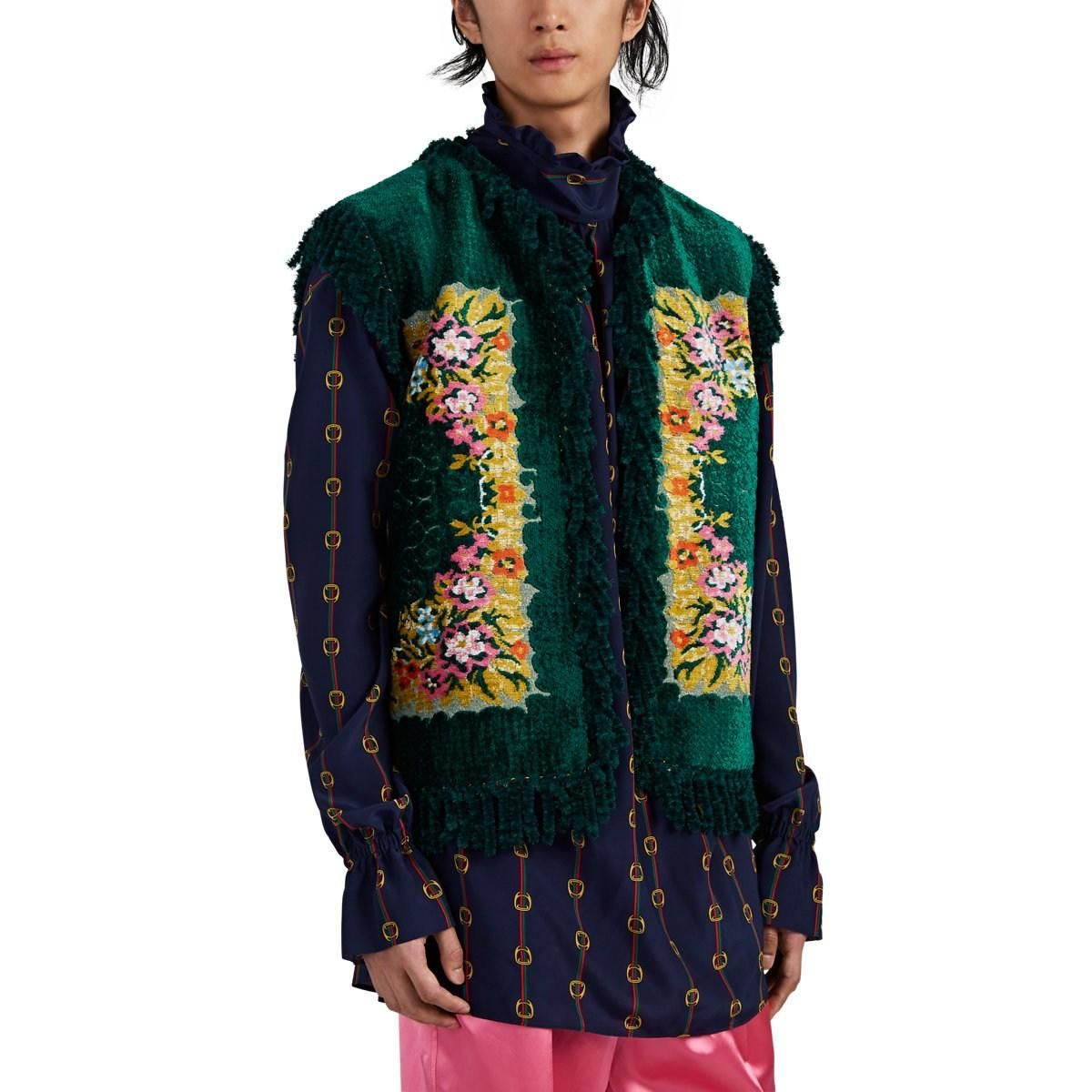 44b3733a203 Lyst - Gucci Fringed Floral Chenille & Basket-weave Vest in Green ...