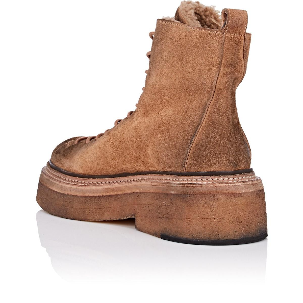 870e06c724a Marsèll Shearling-lined Suede Hiker Boots in Natural - Lyst