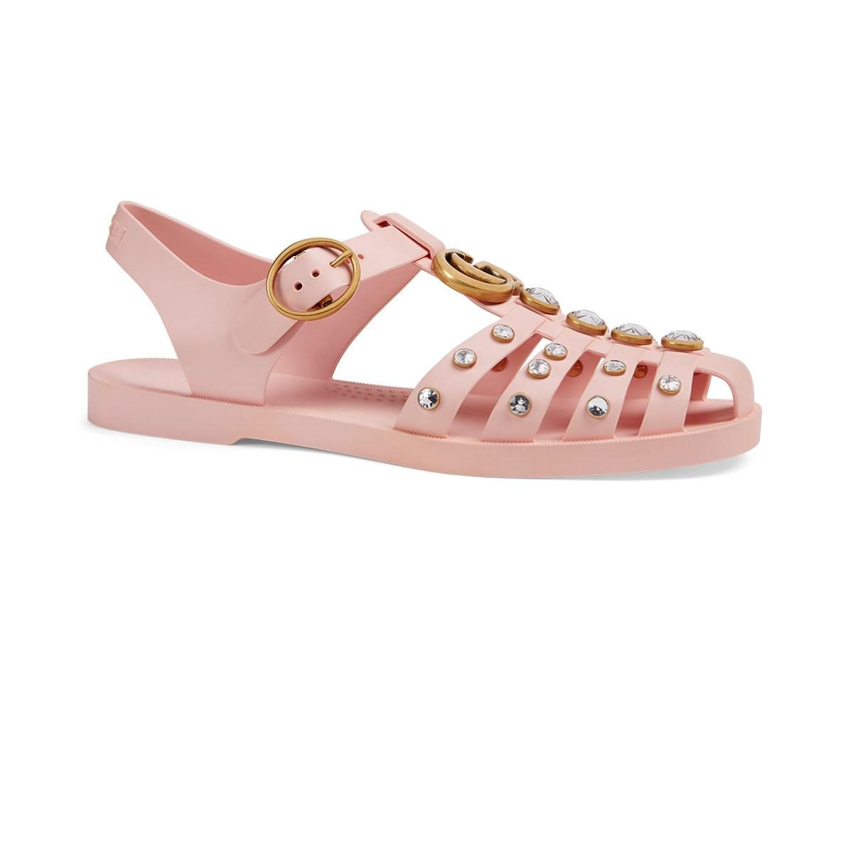 333ae88048ad Lyst - Gucci Crystal-embellished Rubber Sandals in Pink