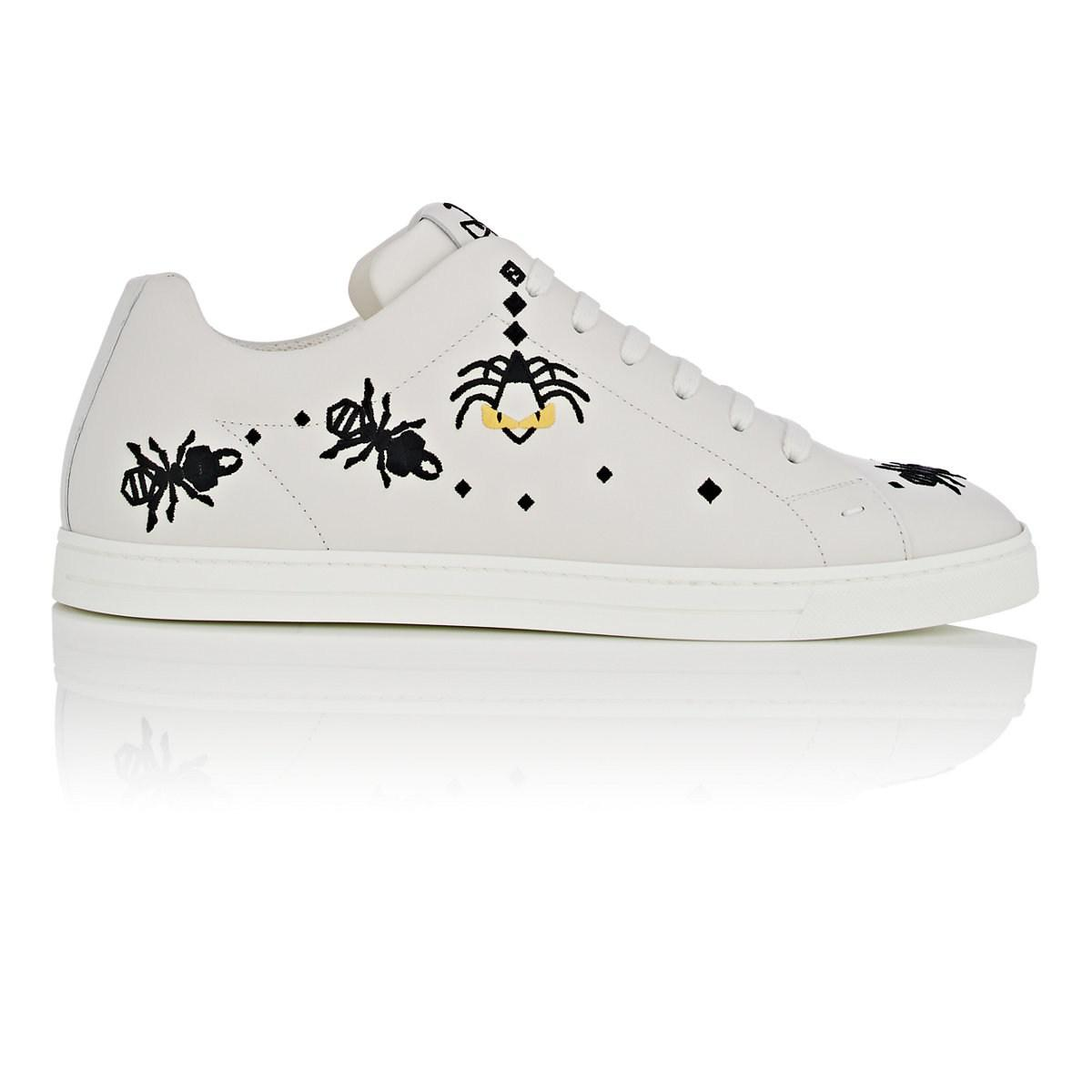 Mens Super Bugs Embroidered Leather Sneakers Fendi