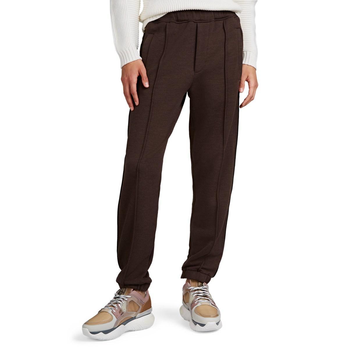 52f6aaff66e9 Fendi Logo-striped Cotton-blend Fleece Sweatpants in Brown for Men ...