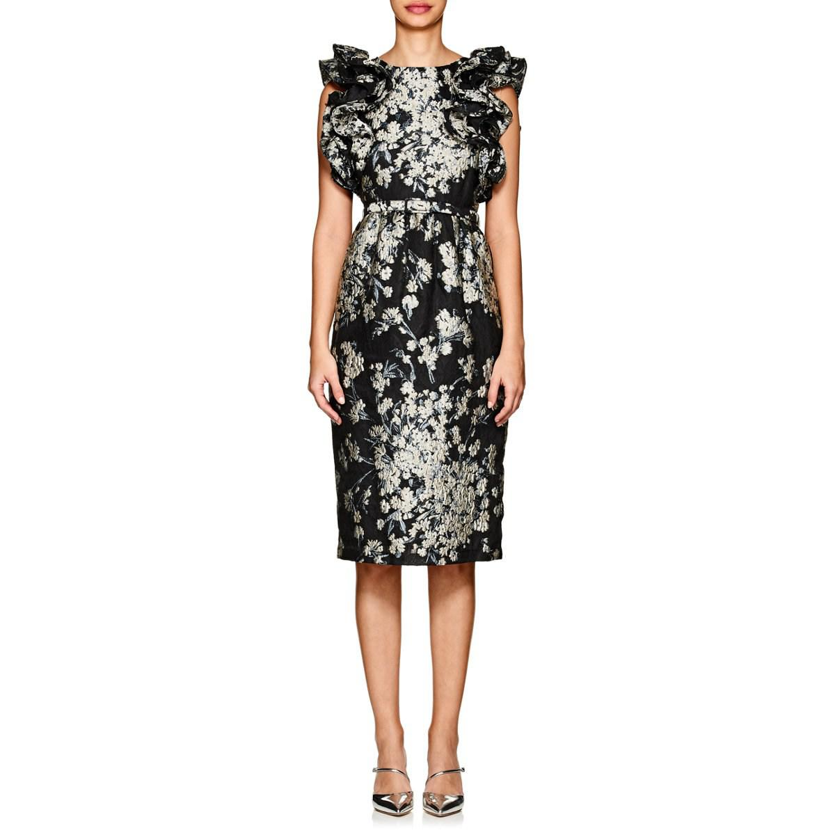 2efd78abac Lyst - Co. Floral Ruffled Brocade Cktail Dress Size S in Black ...
