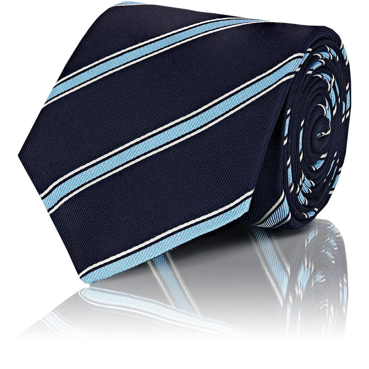 Mens Striped Silk Repp Necktie Isaia dYlg1WvtU8