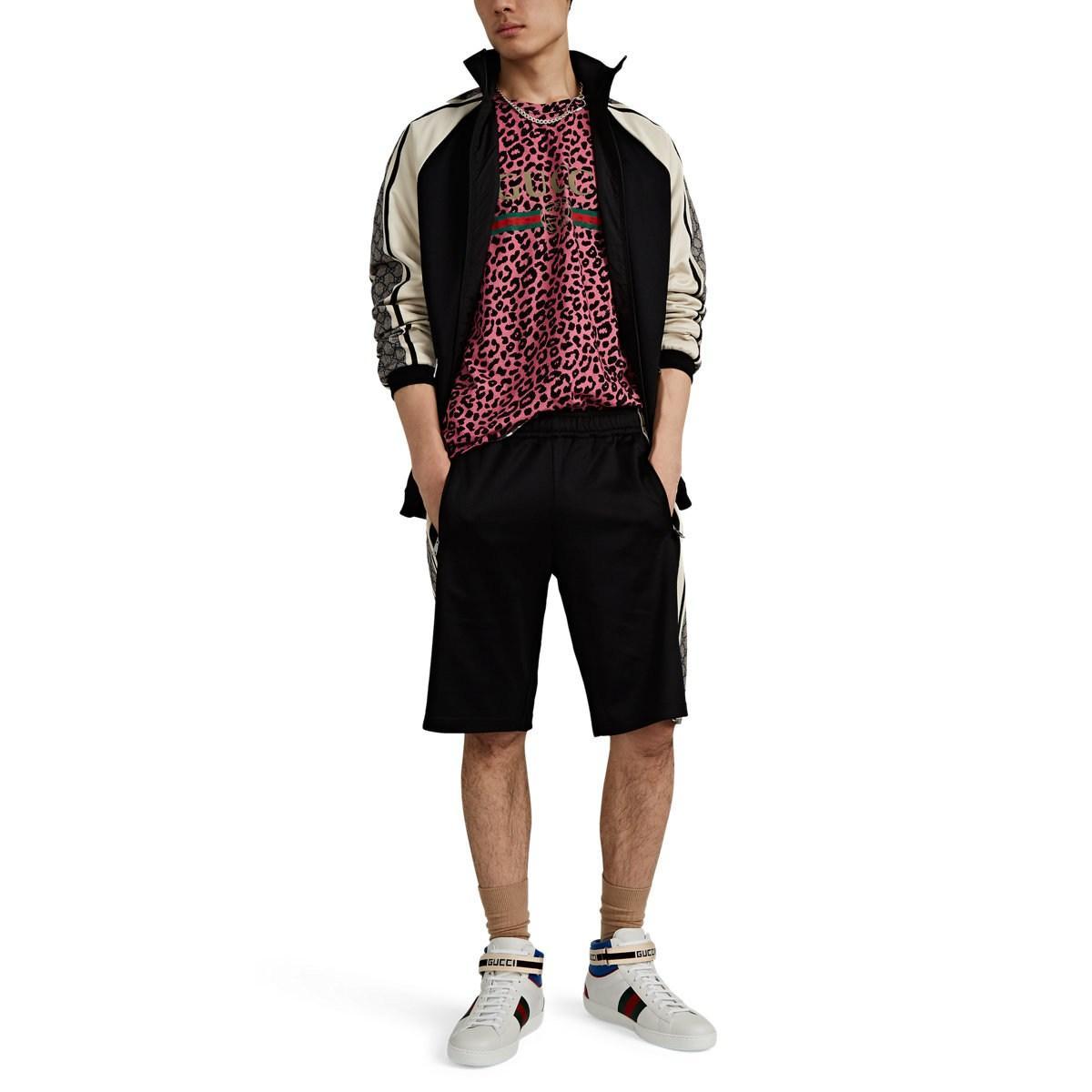 9bc15917c568 Gucci - Black Vintage-logo Leopard-print Cotton T-shirt for Men -. View  fullscreen