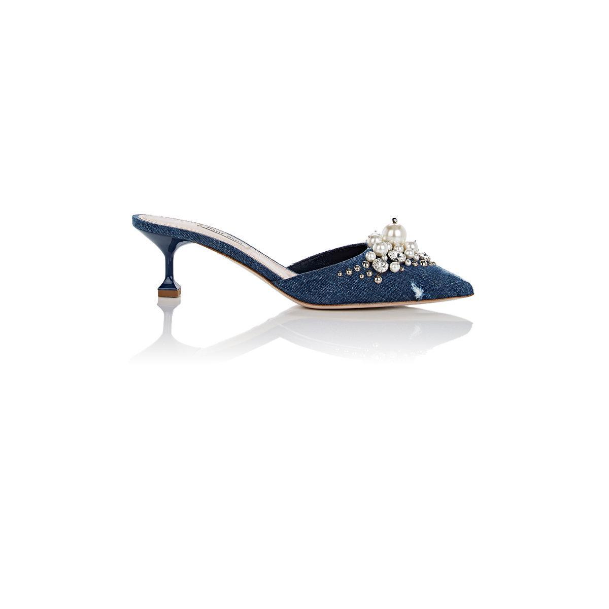 Miu Miu Perles Mules Denim Bleu Embelli - dzNk3