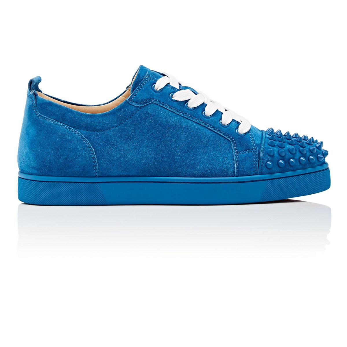 1cf93681dcb Christian Louboutin Louis Junior Spikes Flat Suede Sneakers in Blue ...