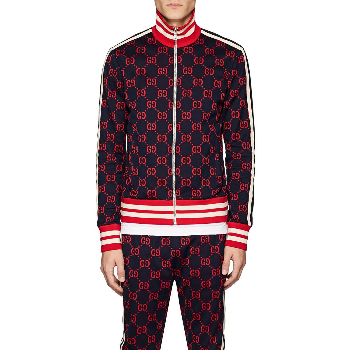 101ddb8d9 Gucci Gg Supreme Cotton Track Jacket in Blue for Men - Lyst