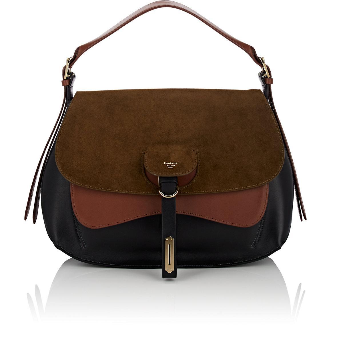 Sale Wiki Free Shipping Fashionable 1915 Womens Wight Medium Saddle Hobo Bag Fontana Milano D7m7YD7Wb