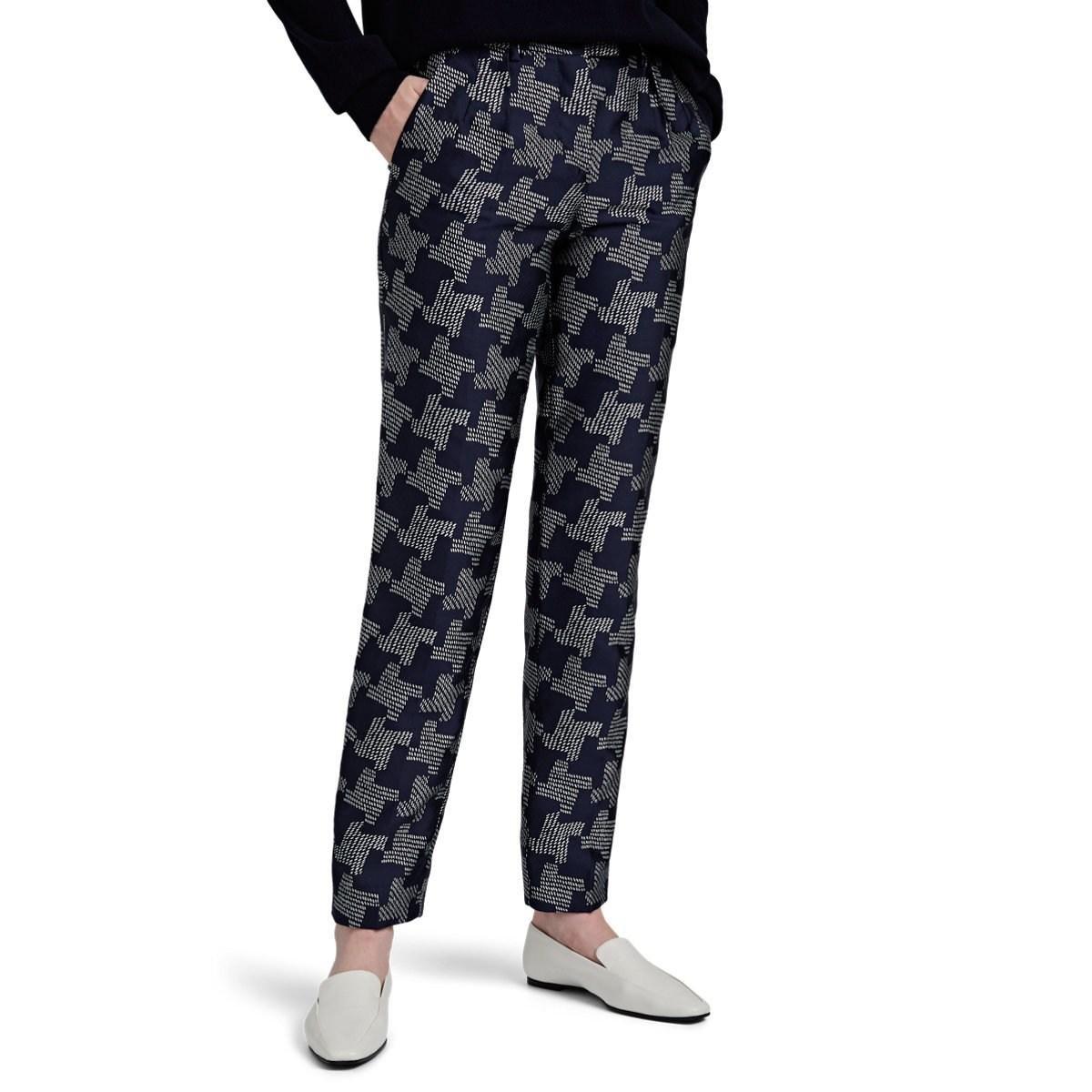 7f0da141c7 Lyst - Giorgio Armani Houndstooth Silk-blend Pleated Trousers in Brown