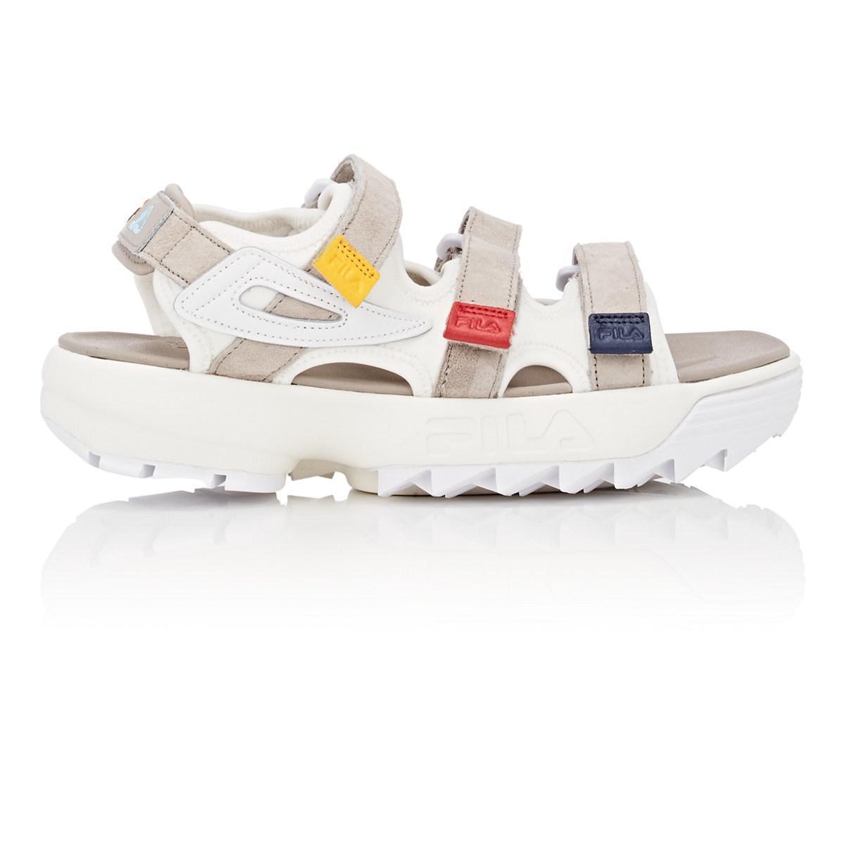 ea030e1c71f8 Lyst - Fila Disruptor Suede   Neoprene Sandals in White