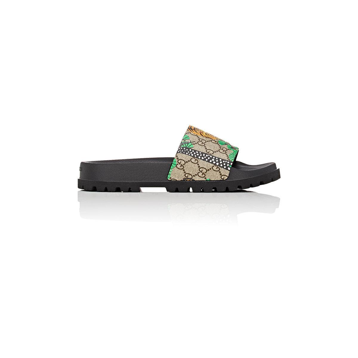 eee25da41 Lyst - Gucci Pursuit Treck Coated Canvas Slide Sandals