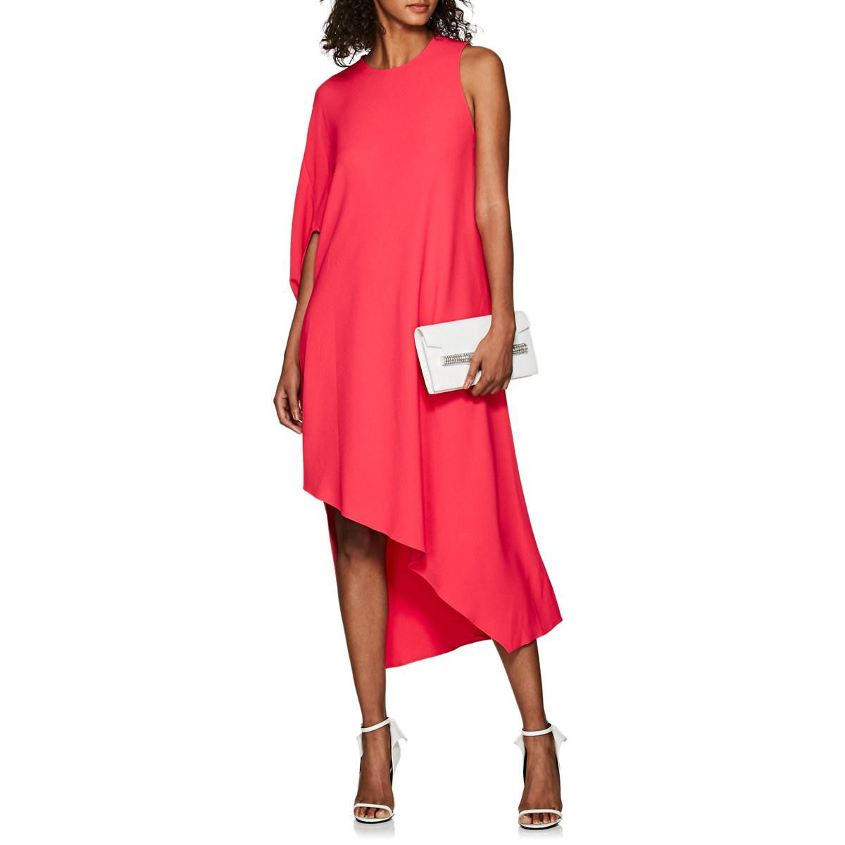 6446d2ac613 Narciso Rodriguez Draped Cady Asymmetric Dress in Red - Lyst