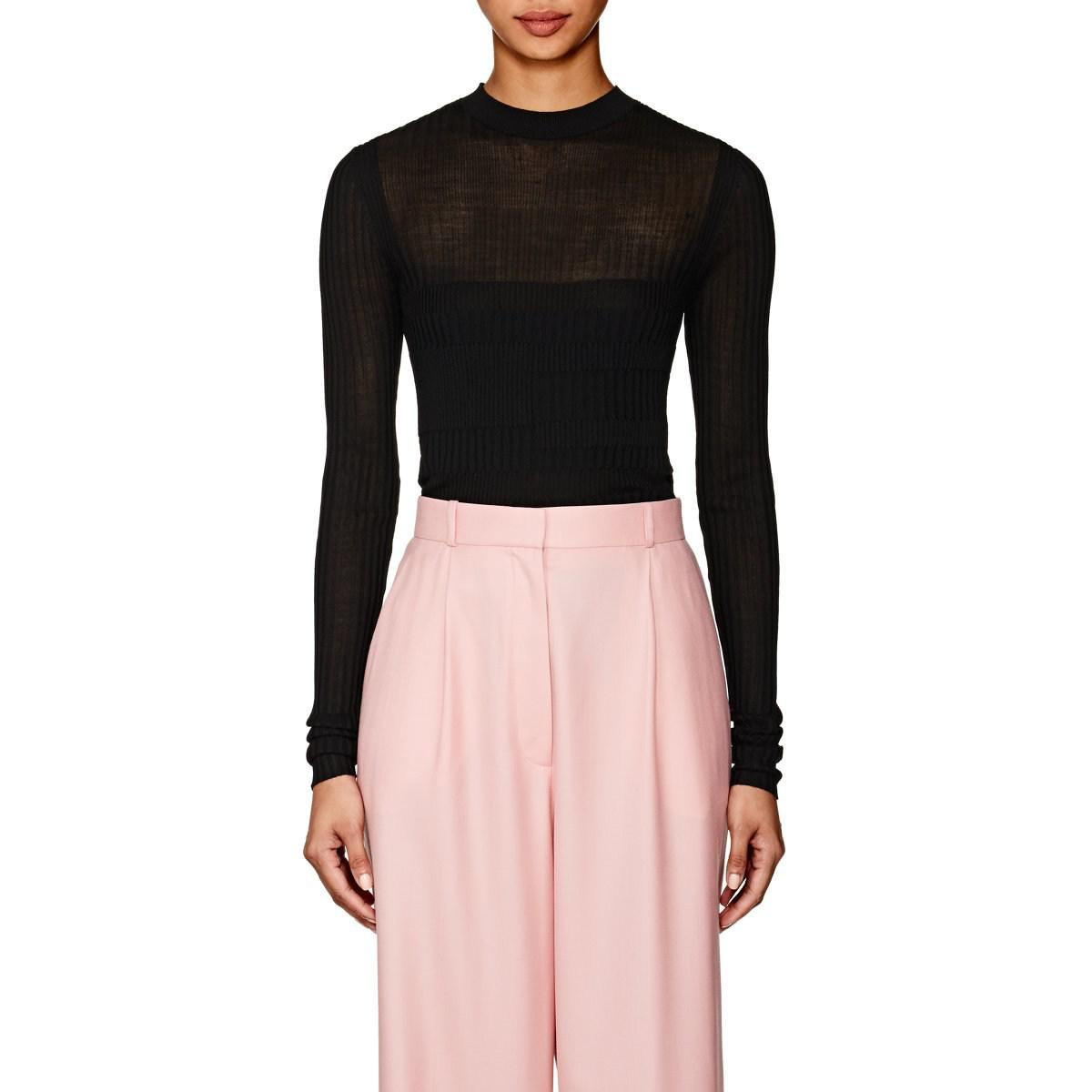 dad0399fe6 Narciso Rodriguez. Women s Black Mixed-rib-knit Silk-blend Fitted Sweater