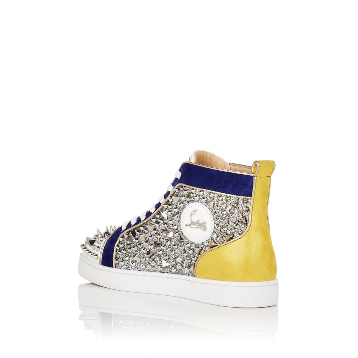 f3baf35b1d86 Christian Louboutin - Blue No Limit Spiked Leather   Suede Sneakers for Men  - Lyst. View fullscreen
