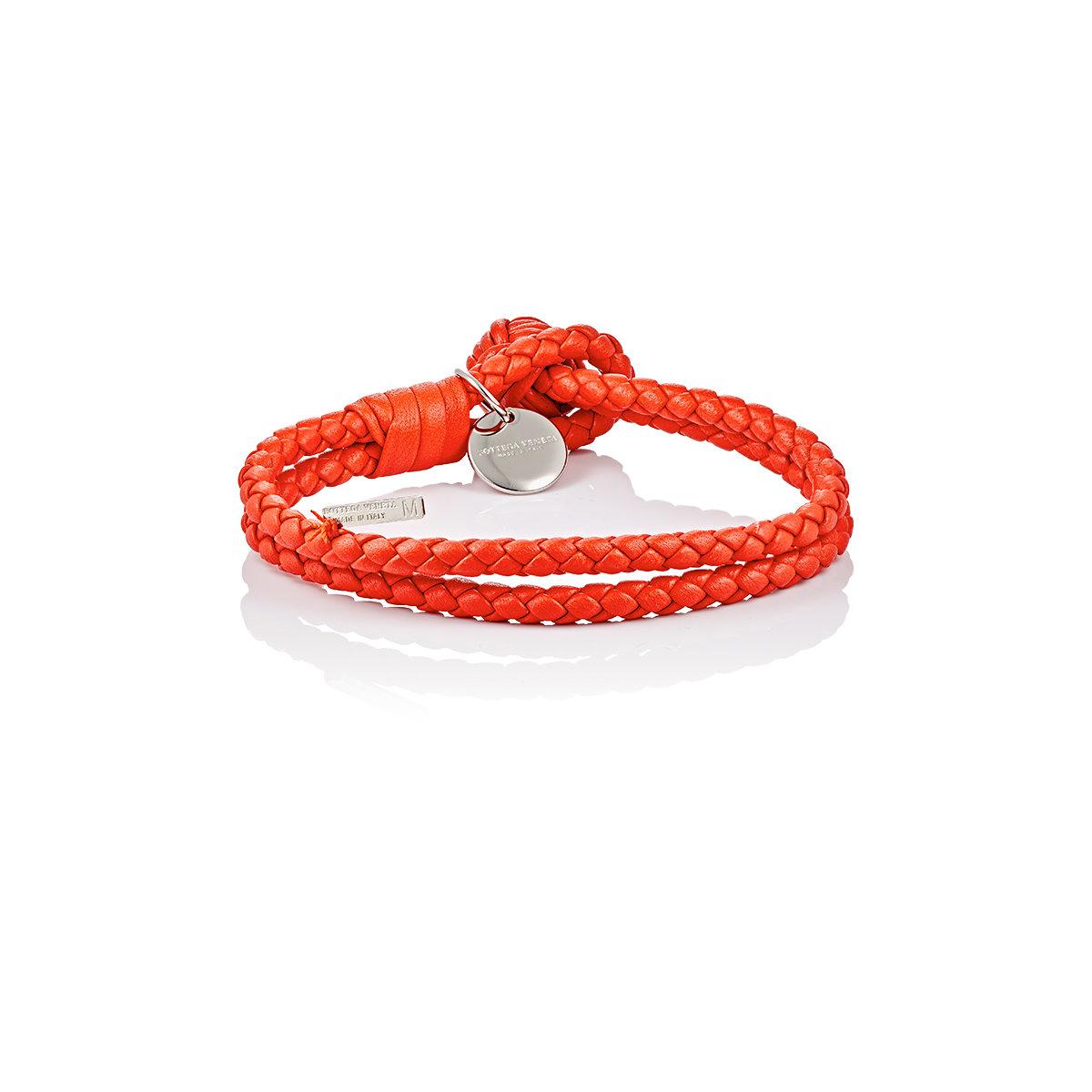 Bottega Veneta Intrecciato Leather Double Band Bracelet In