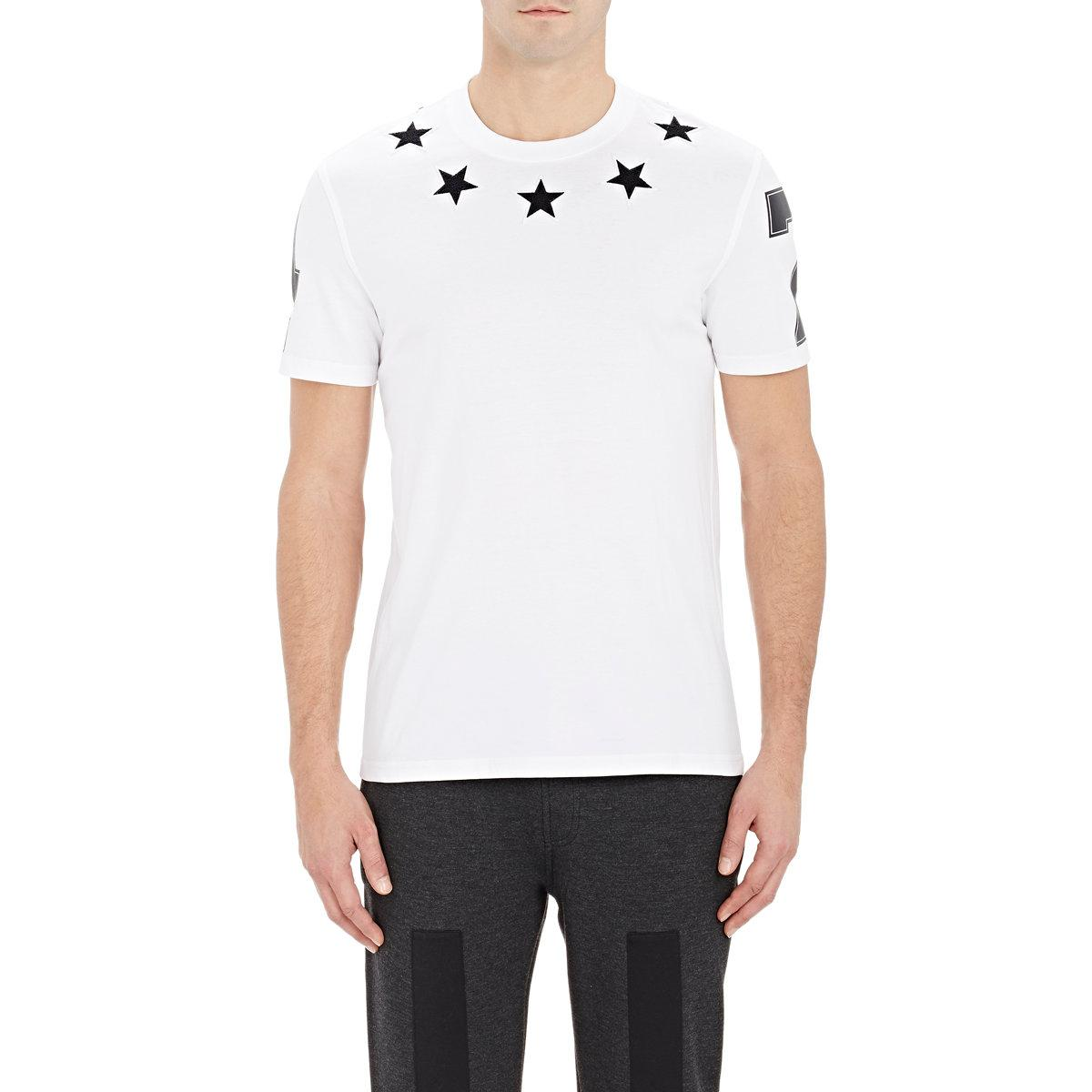 Givenchy star embroirdered t shirt in white for men save for Givenchy 5 star shirt