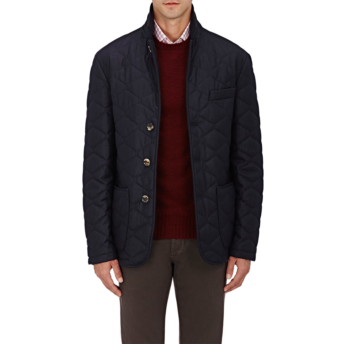 Isaia Cashmere Down-quilted Jacket in Blue for Men