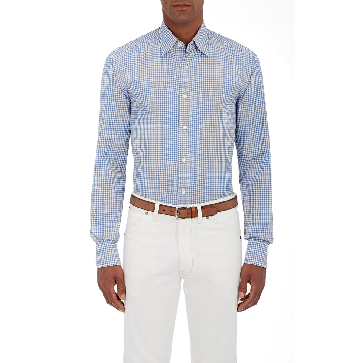 Lyst brioni gingham twill shirt in blue for men for Mens blue gingham shirt