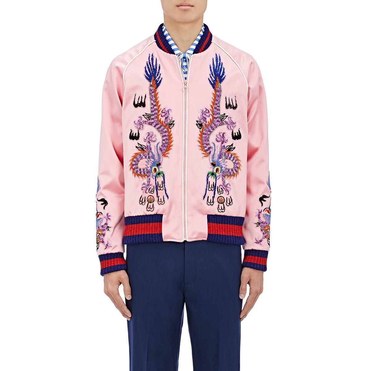 330d22347 Gucci l'aveugle Par Amour Silk Satin Duchesse Bomber Jacket in Pink ...