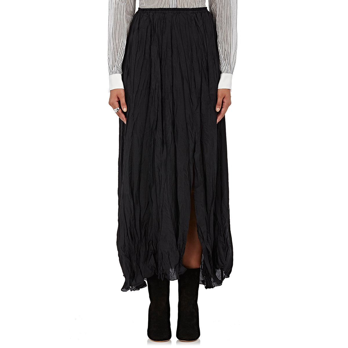 giada forte silk maxi skirt in black lyst