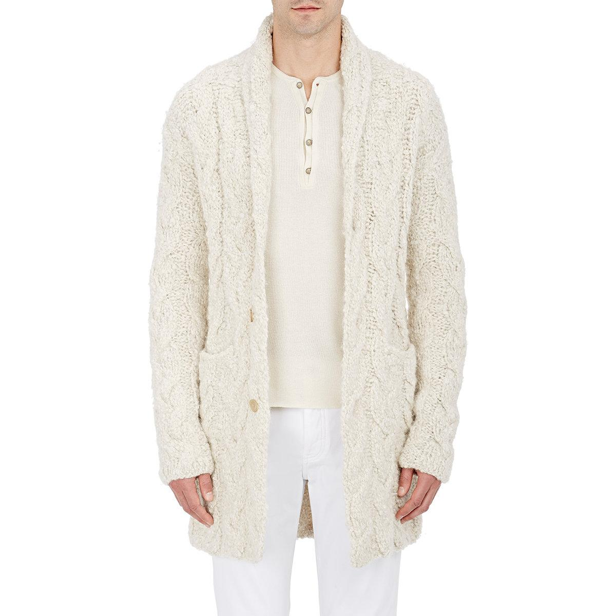 White Cable Knit Cardigan Mens