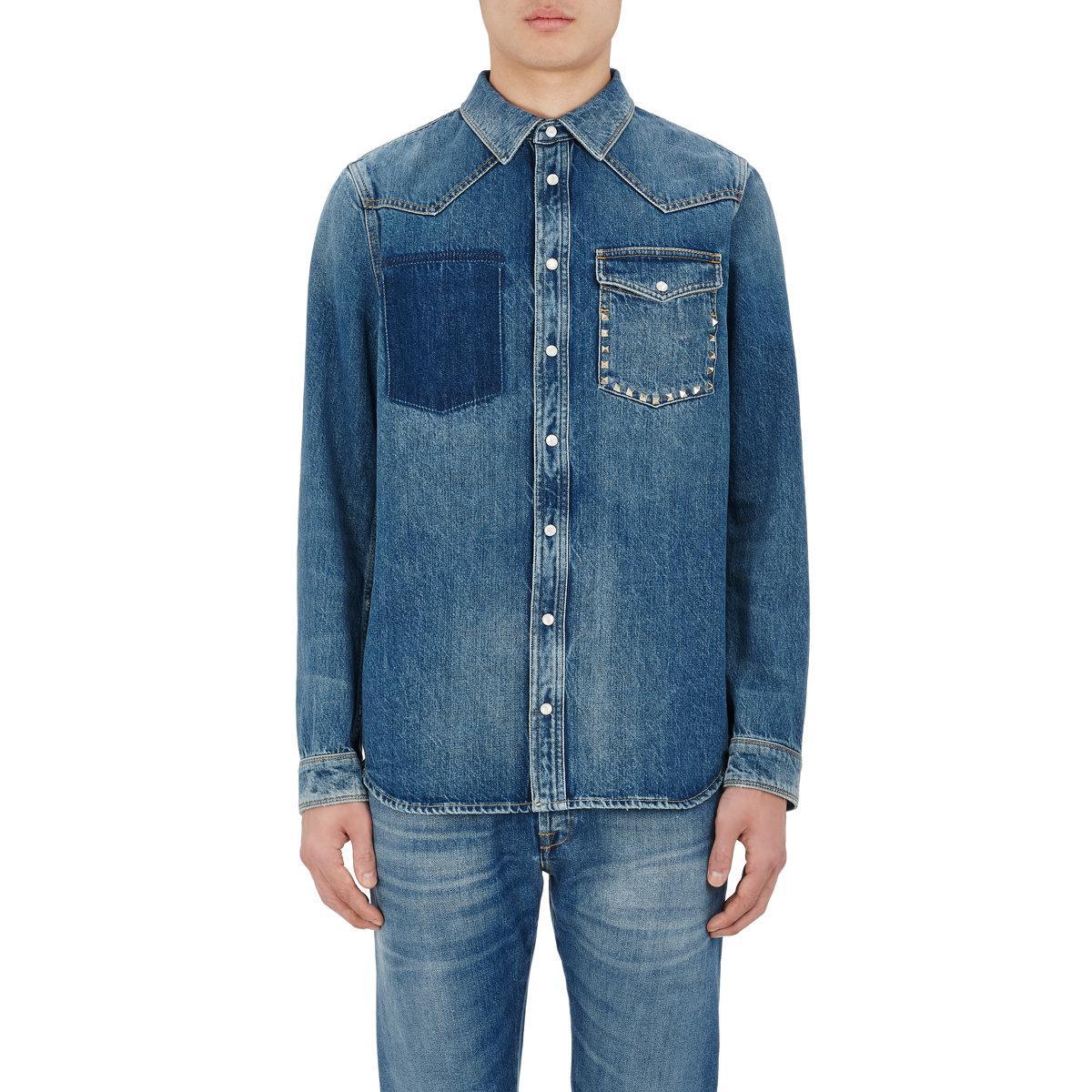 valentino rockstud entitled denim shirt in blue for lyst