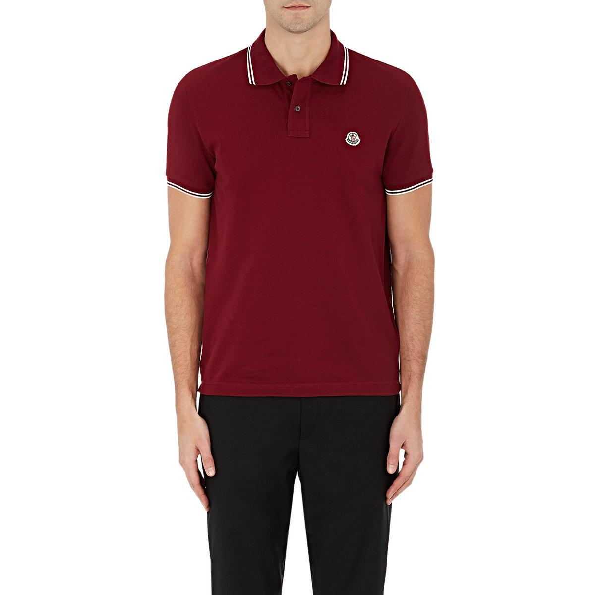 Moncler Cotton Piqu Polo Shirt In Red For Men Lyst