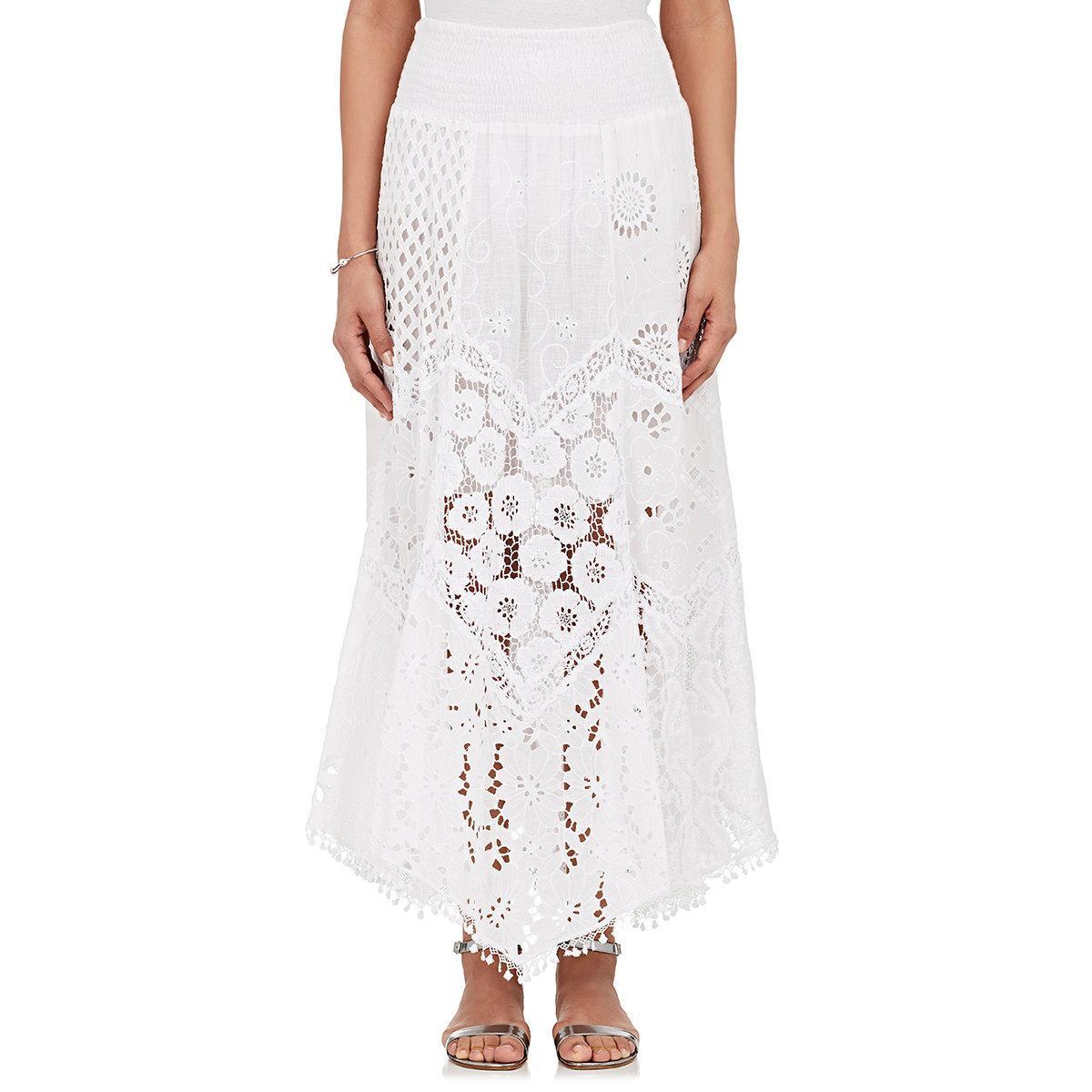 temptation positano papavero cotton maxi skirt in white lyst