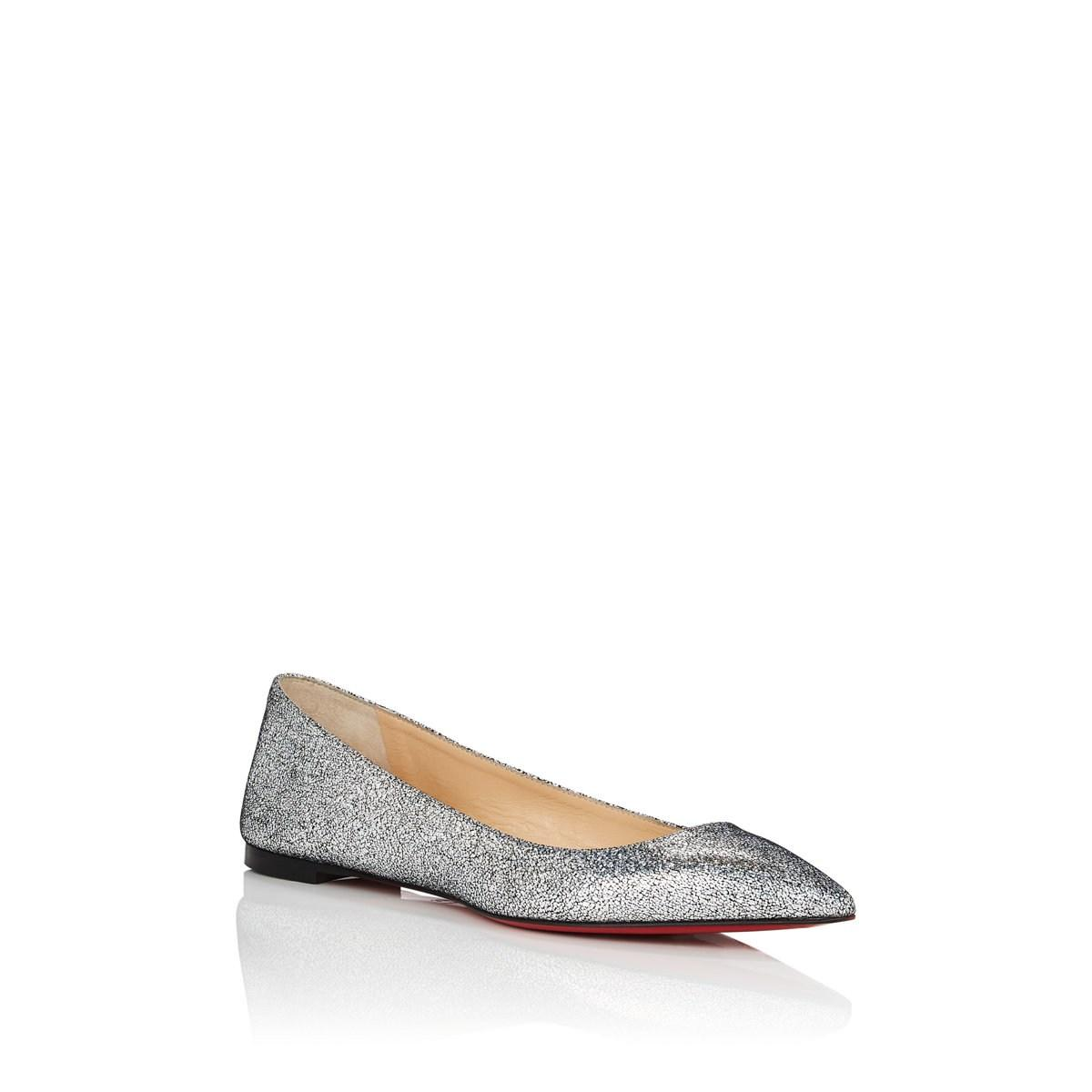 bbfddca79150 Christian Louboutin - Metallic Ballalla Glitter Leather Flats - Lyst. View  fullscreen