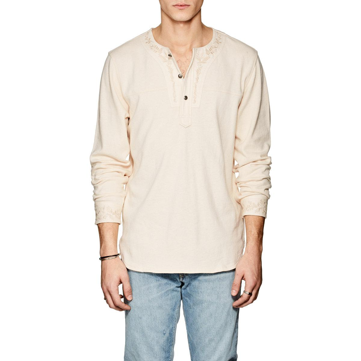 91239c76 Lyst - Rrl Embroidered Cotton Henley in Natural for Men