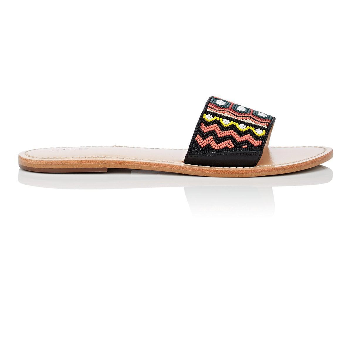 Womens Beaded Suede Slide Sandals Barneys New York IMOMu