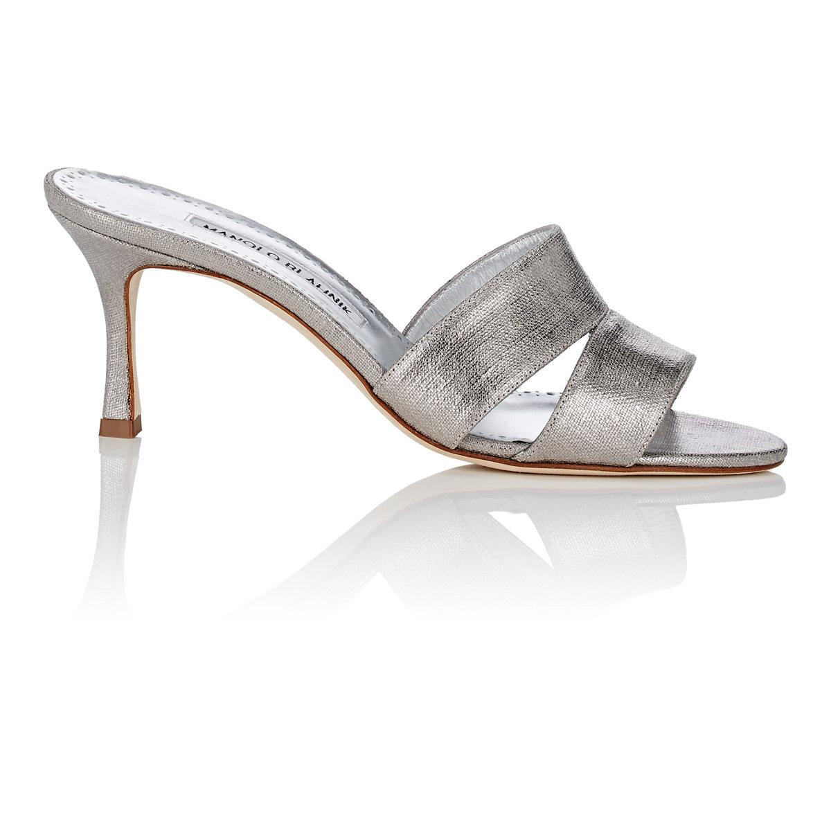 Manolo Blahnik Iacopo Metallic Canvas Mules discount with credit card buy cheap cheap low shipping fee sale online outlet for cheap amazon sale online Ak6WS4JxCh