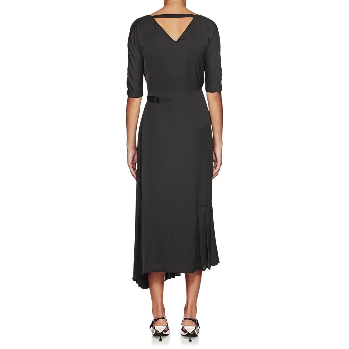 ed6f445f3c Lyst - Prada Tech-crepe Belted Wrap-front Dress in Black